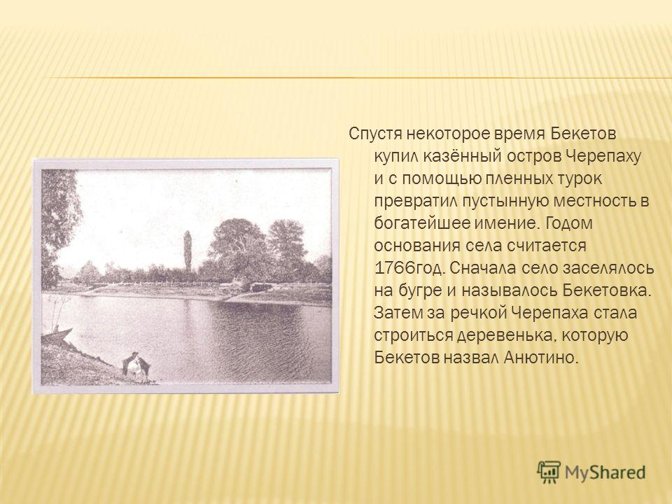 Спустя некоторое время Бекетов купил казённый остров Черепаху и с помощью пленных турок превратил пустынную местность в богатейшее имение. Годом основания села считается 1766год. Сначала село заселялось на бугре и называлось Бекетовка. Затем за речко