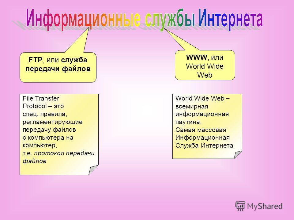 FTP, или служба передачи файлов WWW, или World Wide Web File Transfer Protocol – это спец. правила, регламентирующие передачу файлов с компьютера на компьютер, т.е. протокол передачи файлов World Wide Web – всемирная информационная паутина. Самая мас