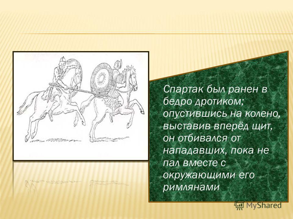 Спартак был ранен в бедро дротиком; опустившись на колено, выставив вперёд щит, он отбивался от нападавших, пока не пал вместе с окружающими его римлянами