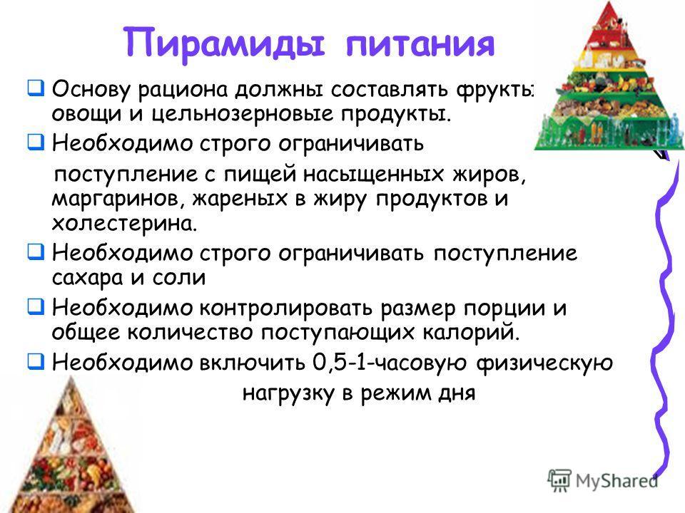 Пирамиды питания Основу рациона должны составлять фрукты, овощи и цельнозерновые продукты. Необходимо строго ограничивать поступление с пищей насыщенных жиров, маргаринов, жареных в жиру продуктов и холестерина. Необходимо строго ограничивать поступл