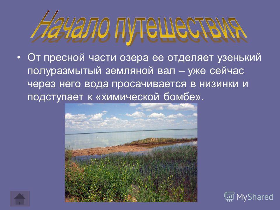 От пресной части озера ее отделяет узенький полуразмытый земляной вал – уже сейчас через него вода просачивается в низинки и подступает к «химической бомбе».