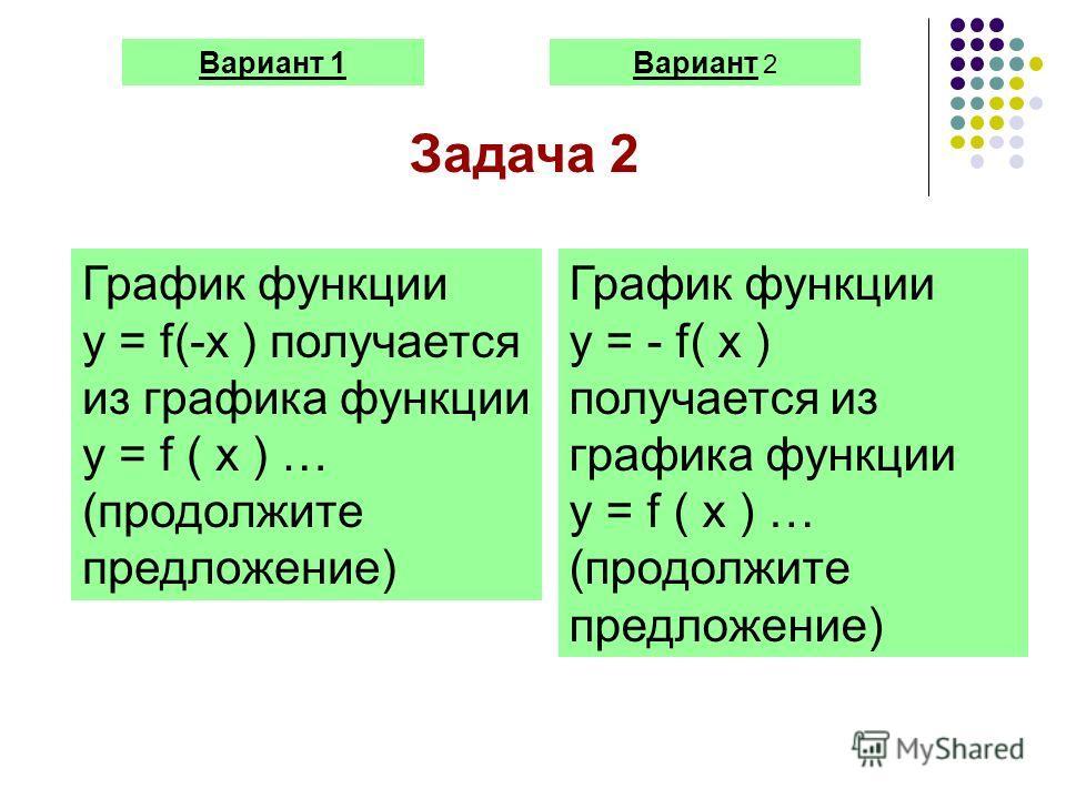 Вариант 1Вариант 2 Задача 2 График функции y = f(-x ) получается из графика функции y = f ( x ) … (продолжите предложение) График функции y = - f( x ) получается из графика функции y = f ( x ) … (продолжите предложение)