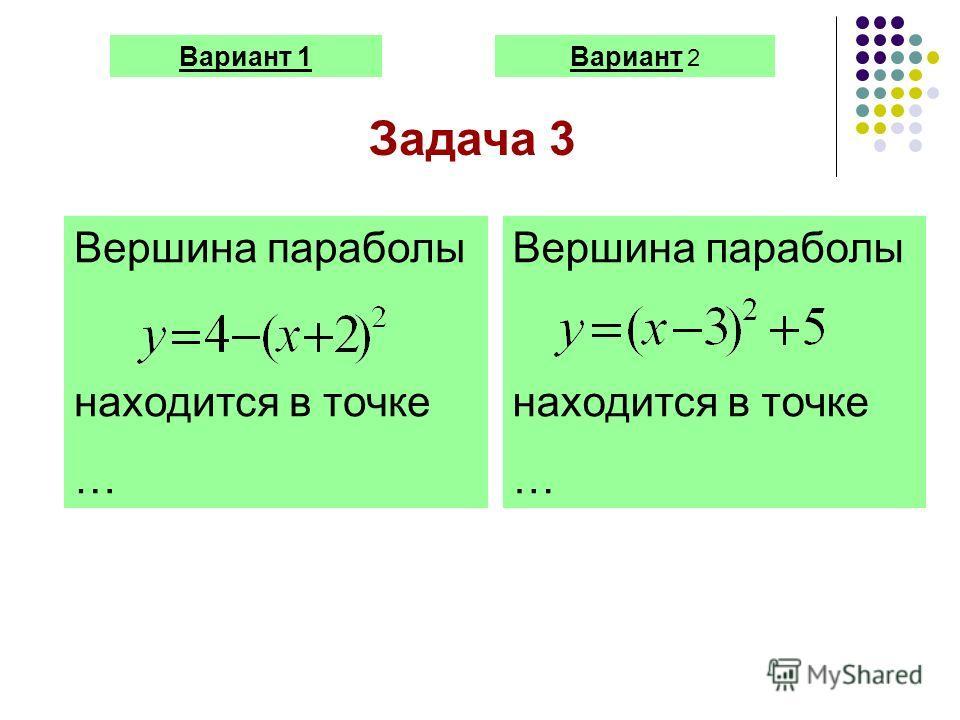 Вариант 1Вариант 2 Задача 3 Вершина параболы находится в точке … Вершина параболы находится в точке …