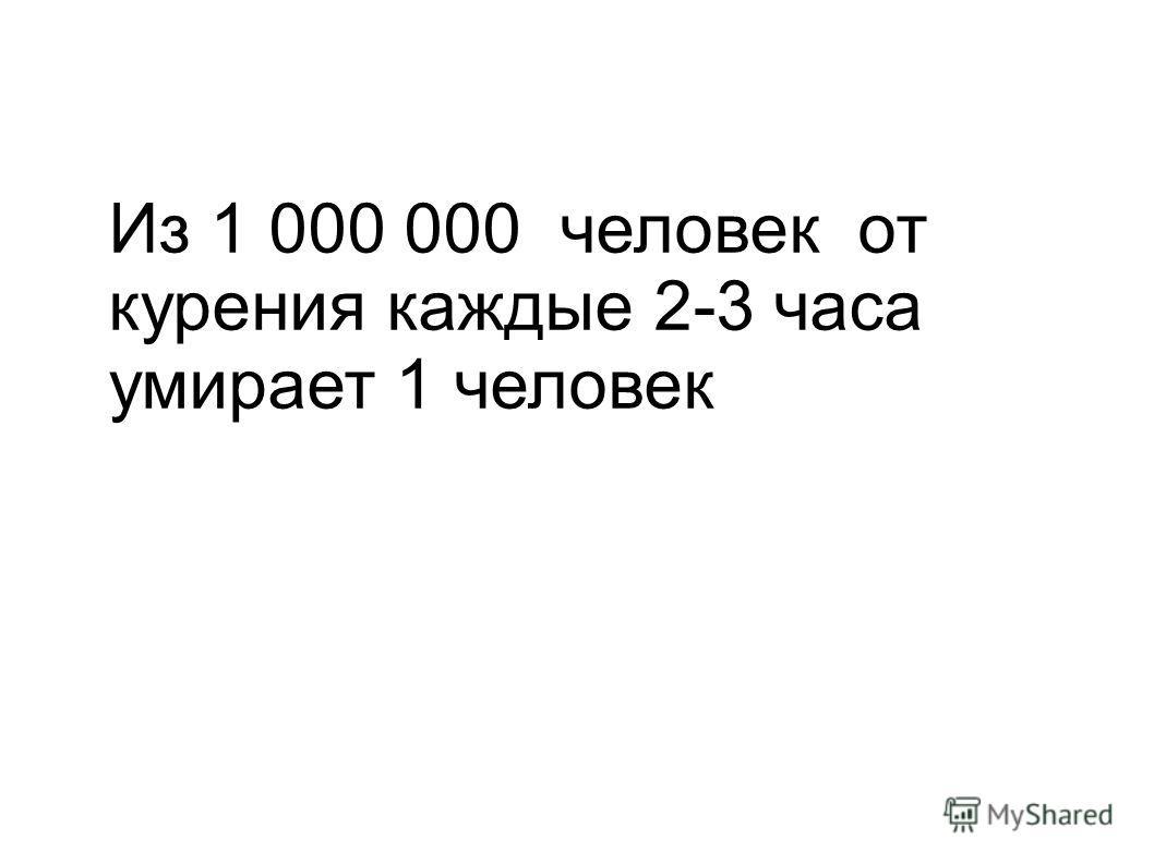 Из 1 000 000 человек от курения каждые 2-3 часа умирает 1 человек