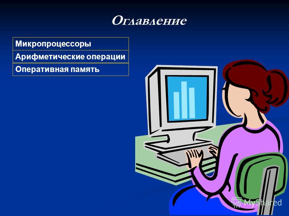 Оглавление Арифметические операции Микропроцессоры Оперативная память