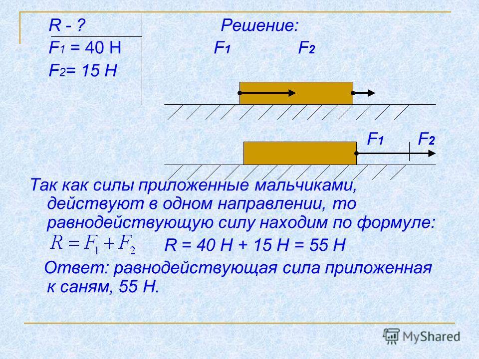 R - ? Решение: F 1 = 40 Н F 1 F 2 F 2 = 15 Н F 1 F 2 Так как силы приложенные мальчиками, действуют в одном направлении, то равнодействующую силу находим по формуле: R = 40 Н + 15 Н = 55 Н Ответ: равнодействующая сила приложенная к саням, 55 Н.