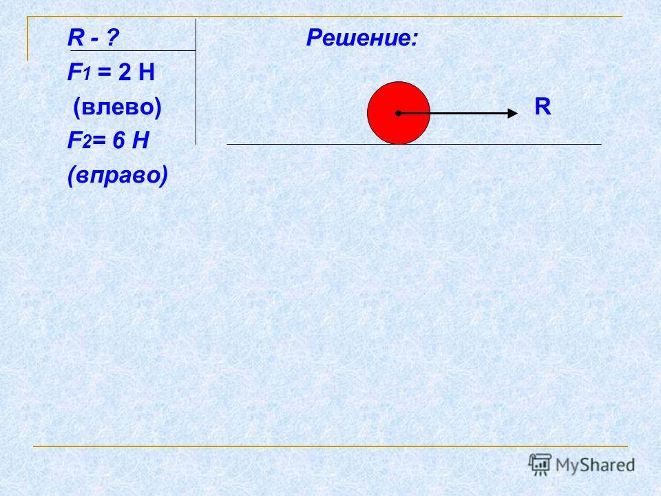 R - ? Решение: F 1 = 2 Н (влево) R F 2 = 6 Н (вправо)