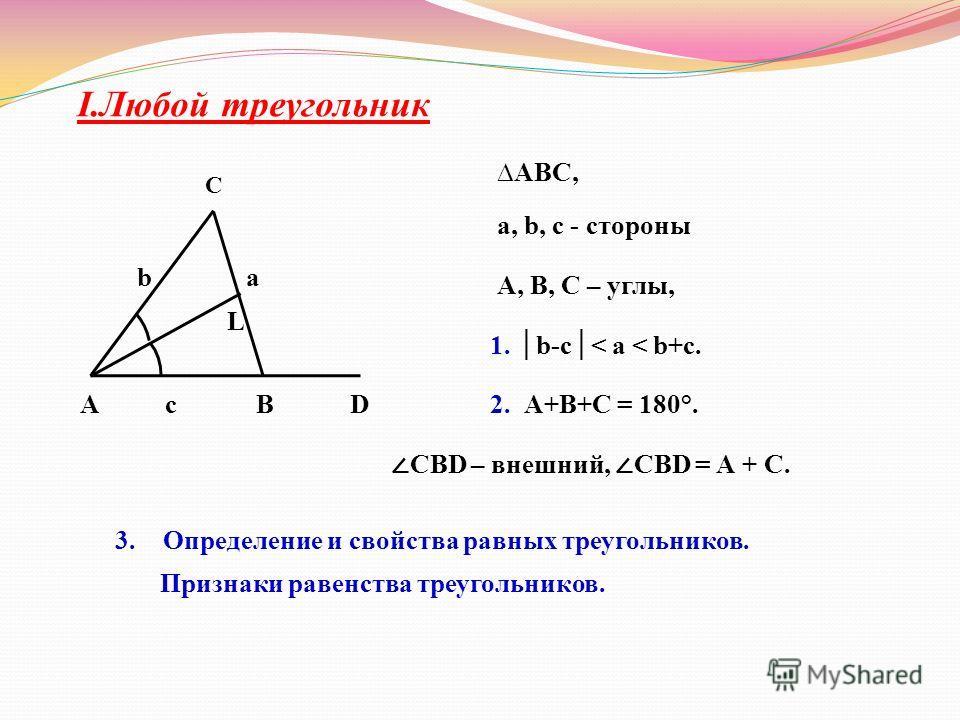 І.Любой треугольник A c BD b a L C АВС, a, b, c - стороны 1. b-c< a < b+c. 2. А+В+С = 180°. А, В, С – углы, СBD – внешний, СBD = А + С. 3.Определение и свойства равных треугольников. Признаки равенства треугольников.