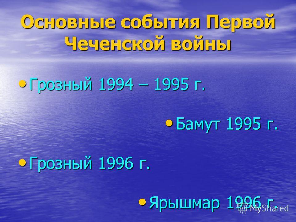 Основные события Первой Чеченской войны Грозный 1994 – 1995 г. Грозный 1994 – 1995 г. Бамут 1995 г. Бамут 1995 г. Грозный 1996 г. Грозный 1996 г. Ярышмар 1996 г. Ярышмар 1996 г.