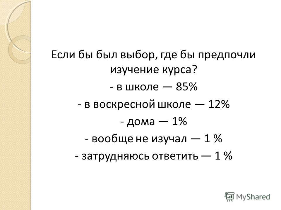 Если бы был выбор, где бы предпочли изучение курса? - в школе 85% - в воскресной школе 12% - дома 1% - вообще не изучал 1 % - затрудняюсь ответить 1 %