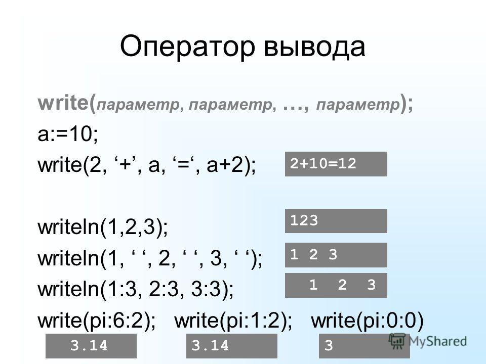 Оператор вывода write( параметр, параметр, …, параметр ); a:=10; write(2, +, a, =, a+2); writeln(1,2,3); writeln(1,, 2,, 3, ); writeln(1:3, 2:3, 3:3); write(pi:6:2); write(pi:1:2); write(pi:0:0) 2+10=12 123 1 2 31 2 3 3.14 3