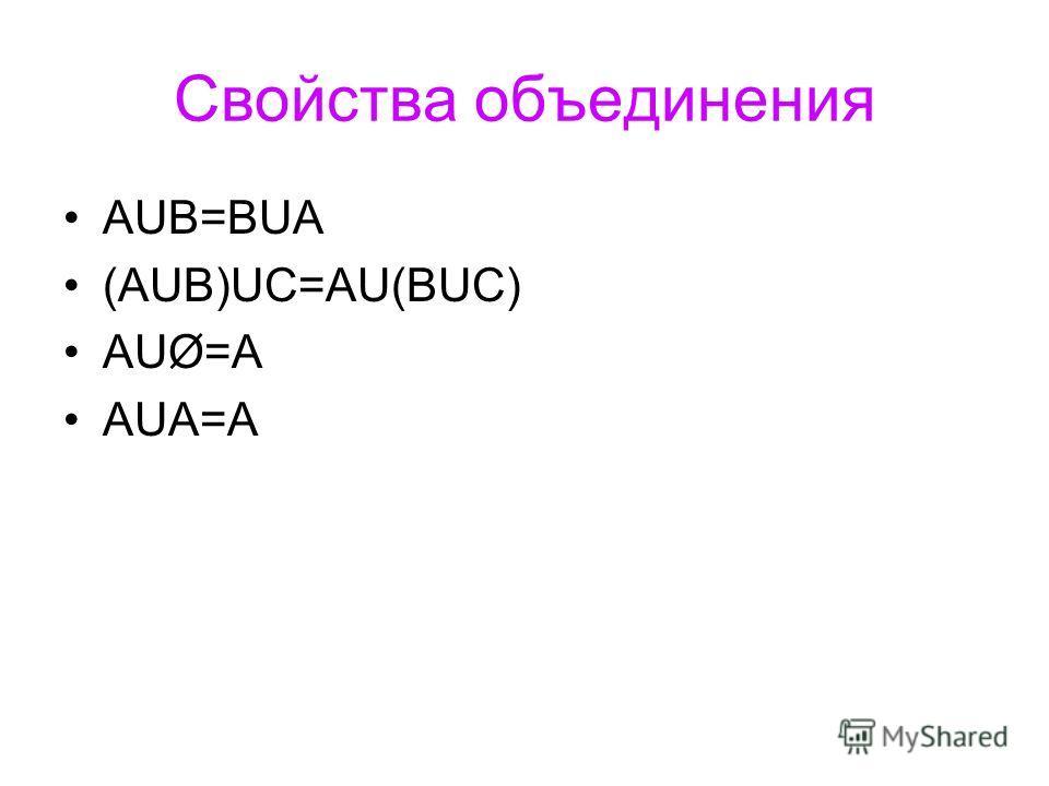 Свойства объединения АUB=BUA (АUB)UC=AU(BUC) AUØ=A AUA=A