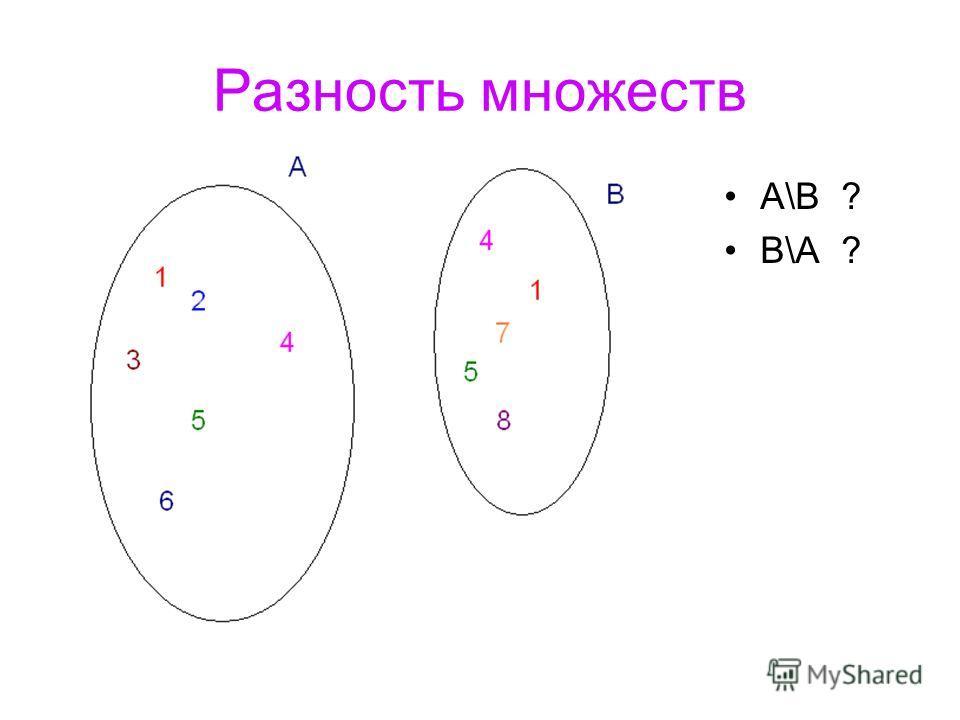 Разность множеств A\B ? B\A ?