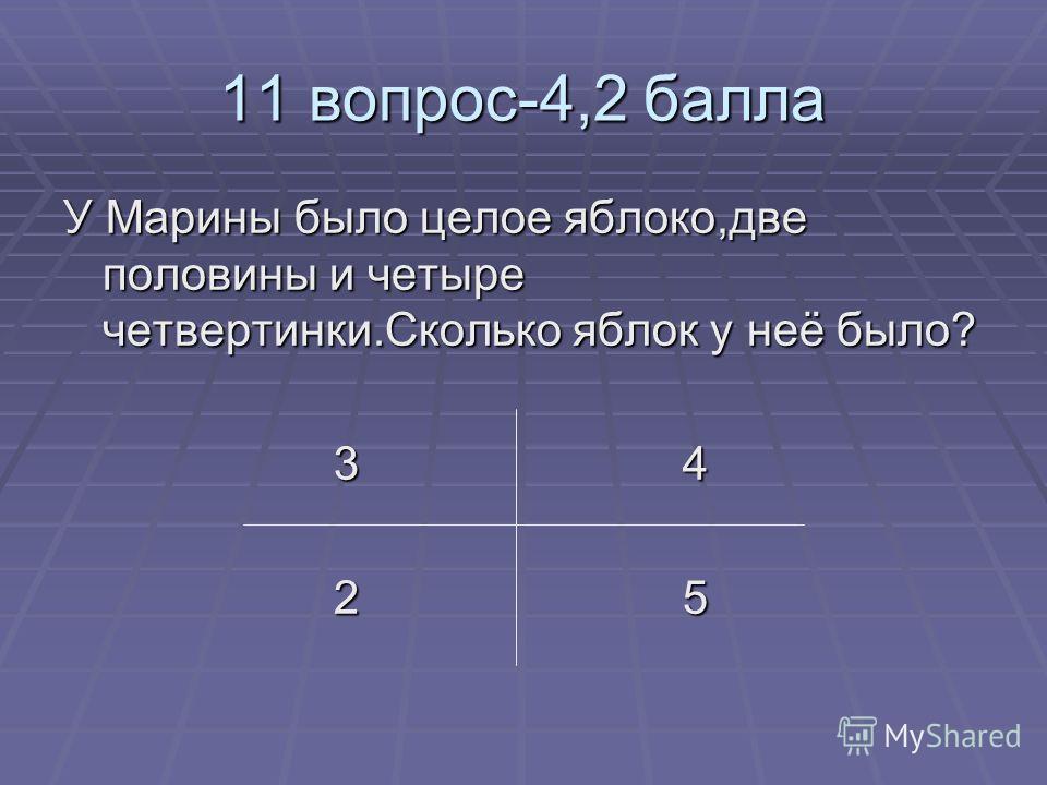 11 вопрос-4,2 балла У Марины было целое яблоко,две половины и четыре четвертинки.Сколько яблок у неё было? 3 4 3 4 2 5 2 5