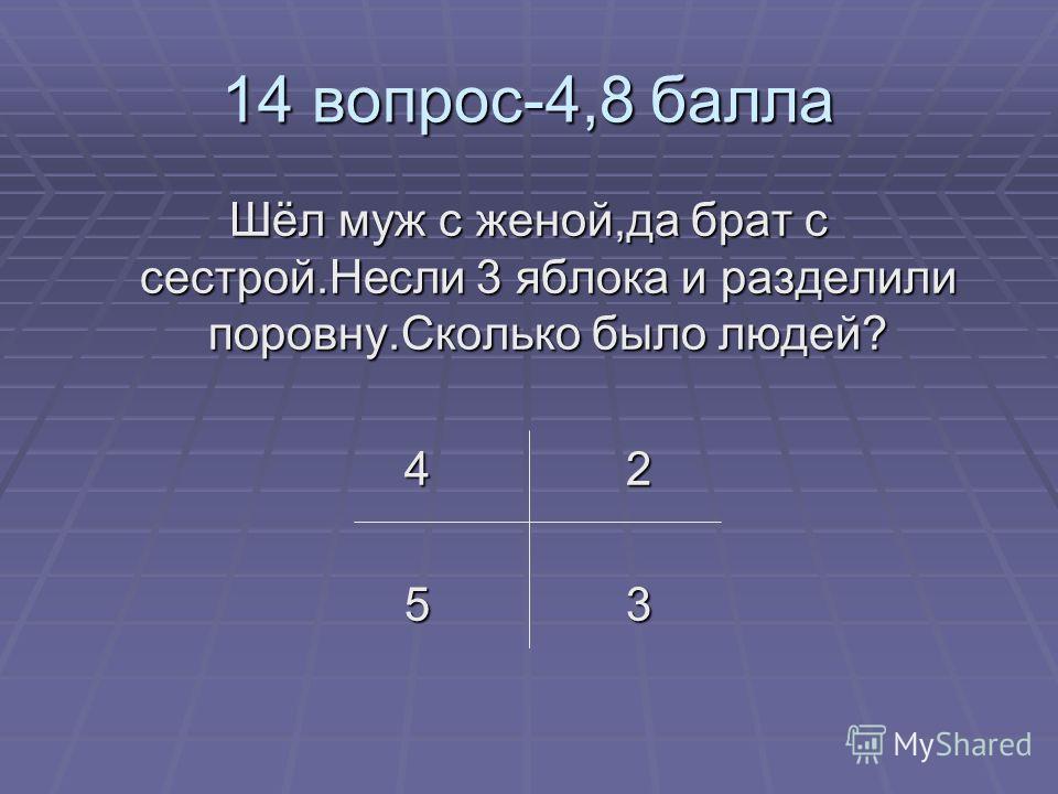 14 вопрос-4,8 балла Шёл муж с женой,да брат с сестрой.Несли 3 яблока и разделили поровну.Сколько было людей? 4 2 5 3