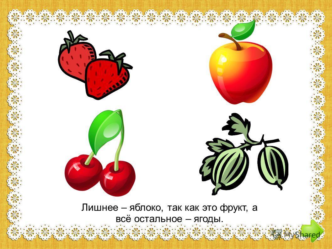 Лишнее – яблоко, так как это фрукт, а всё остальное – ягоды.