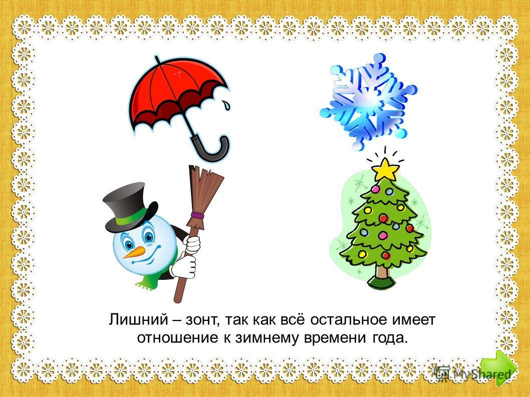 Лишний – зонт, так как всё остальное имеет отношение к зимнему времени года.