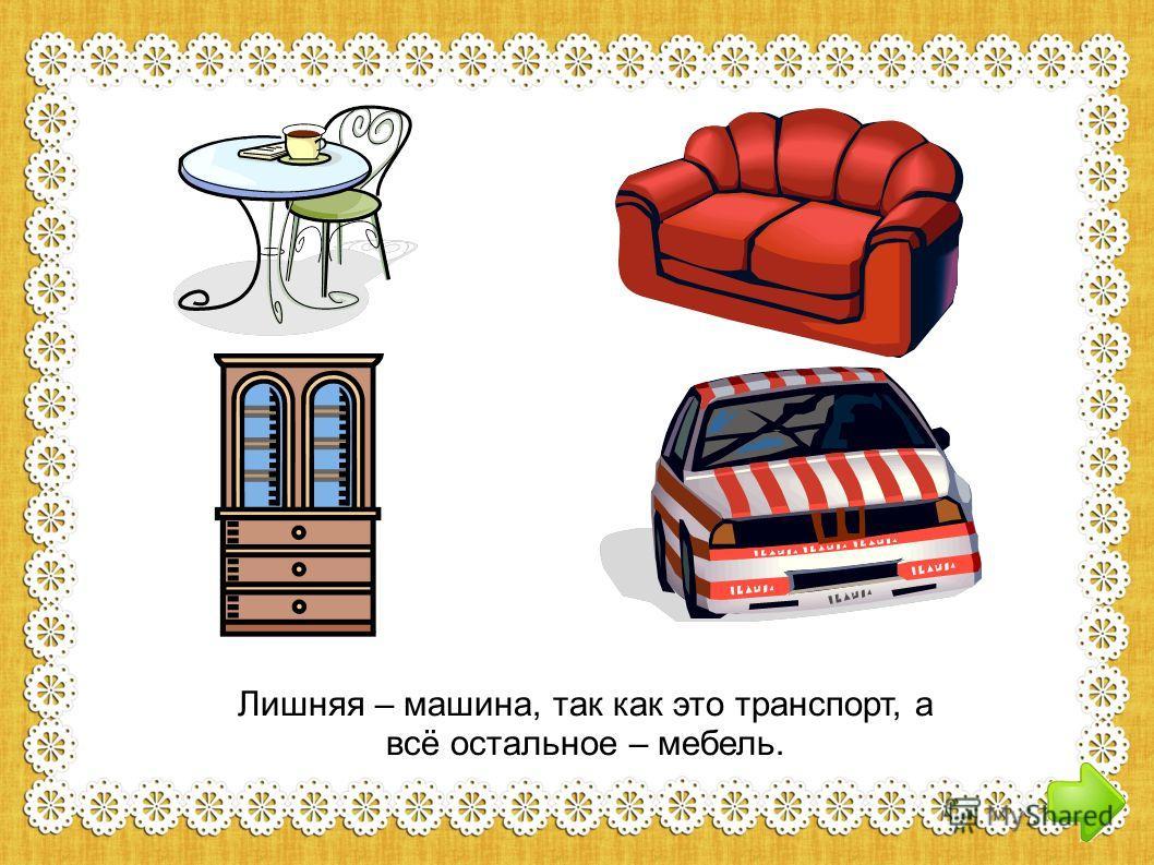 Лишняя – машина, так как это транспорт, а всё остальное – мебель.