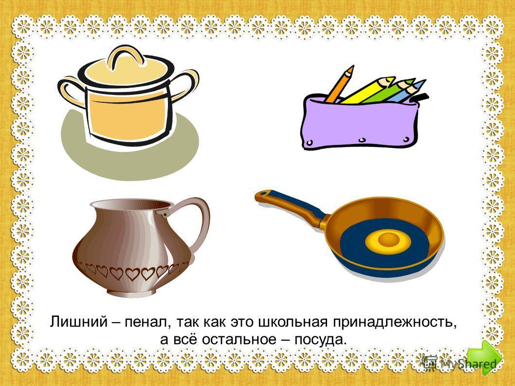 Лишний – пенал, так как это школьная принадлежность, а всё остальное – посуда.