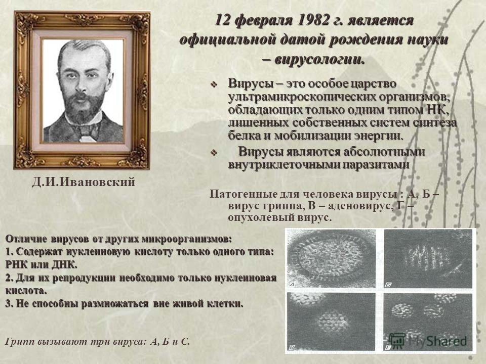 12 февраля 1982 г. является официальной датой рождения науки – вирусологии. Вирусы – это особое царство ультрамикроскопических организмов, обладающих только одним типом НК, лишенных собственных систем синтеза белка и мобилизации энергии. Вирусы – это