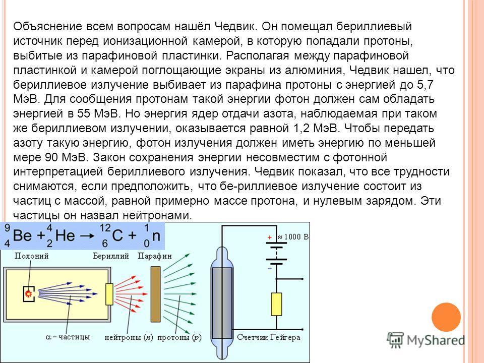 Объяснение всем вопросам нашёл Чедвик. Он помещал бериллиевый источник перед ионизационной камерой, в которую попадали протоны, выбитые из парафиновой пластинки. Располагая между парафиновой пластинкой и камерой поглощающие экраны из алюминия, Чедвик