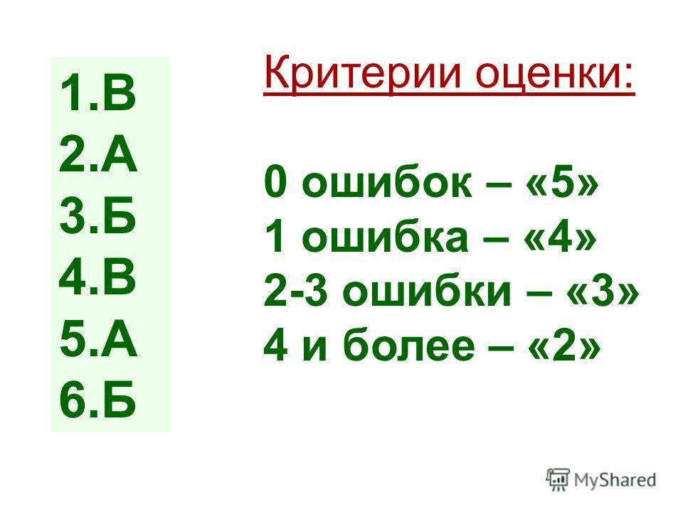 1.В 2.А 3.Б 4.В 5.А 6.Б Критерии оценки: 0 ошибок – «5» 1 ошибка – «4» 2-3 ошибки – «3» 4 и более – «2»