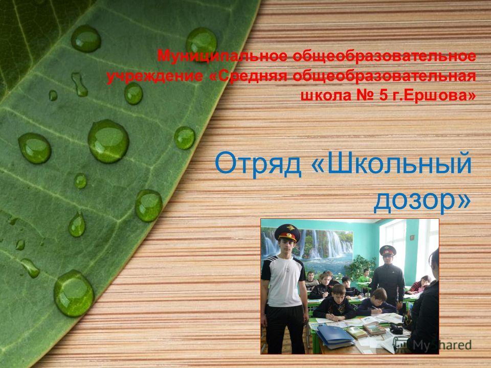 Муниципальное общеобразовательное учреждение «Средняя общеобразовательная школа 5 г.Ершова» Отряд «Школьный дозор»