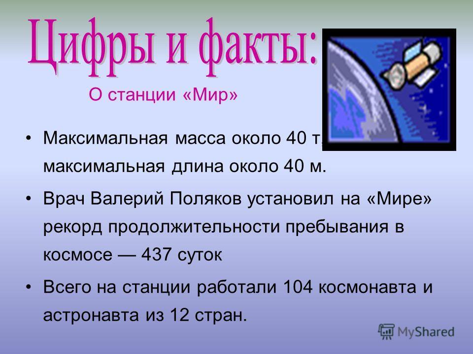 Максимальная масса около 40 т, максимальная длина около 40 м. Врач Валерий Поляков установил на «Мире» рекорд продолжительности пребывания в космосе 437 суток Всего на станции работали 104 космонавта и астронавта из 12 стран. О станции «Мир»