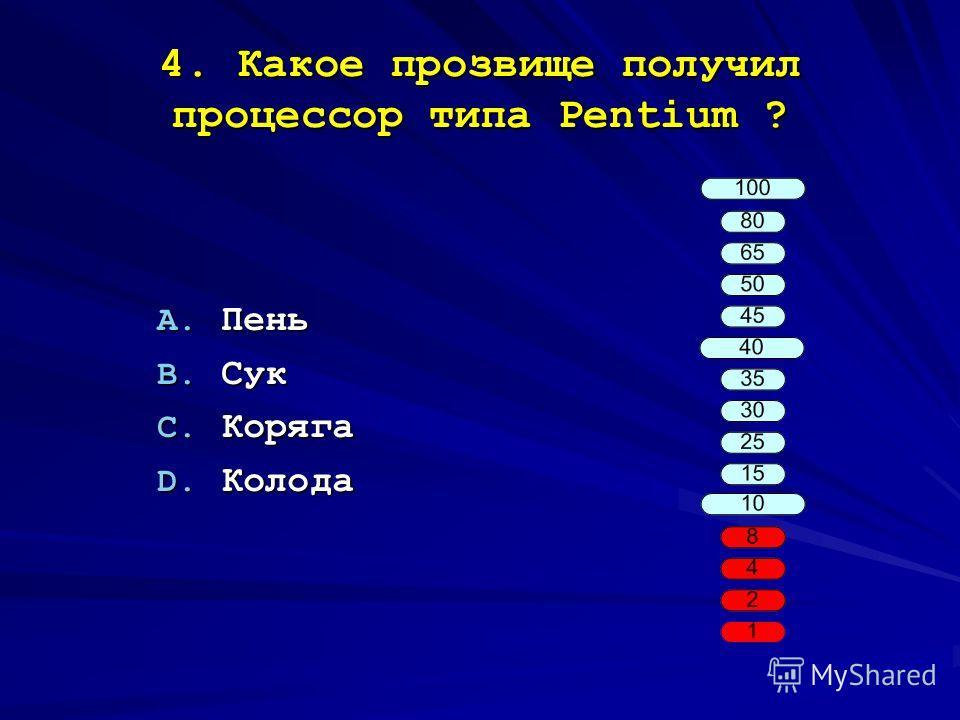 4. Какое прозвище получил процессор типа Pentium ? A. Пень B. Сук C. Коряга D. Колода
