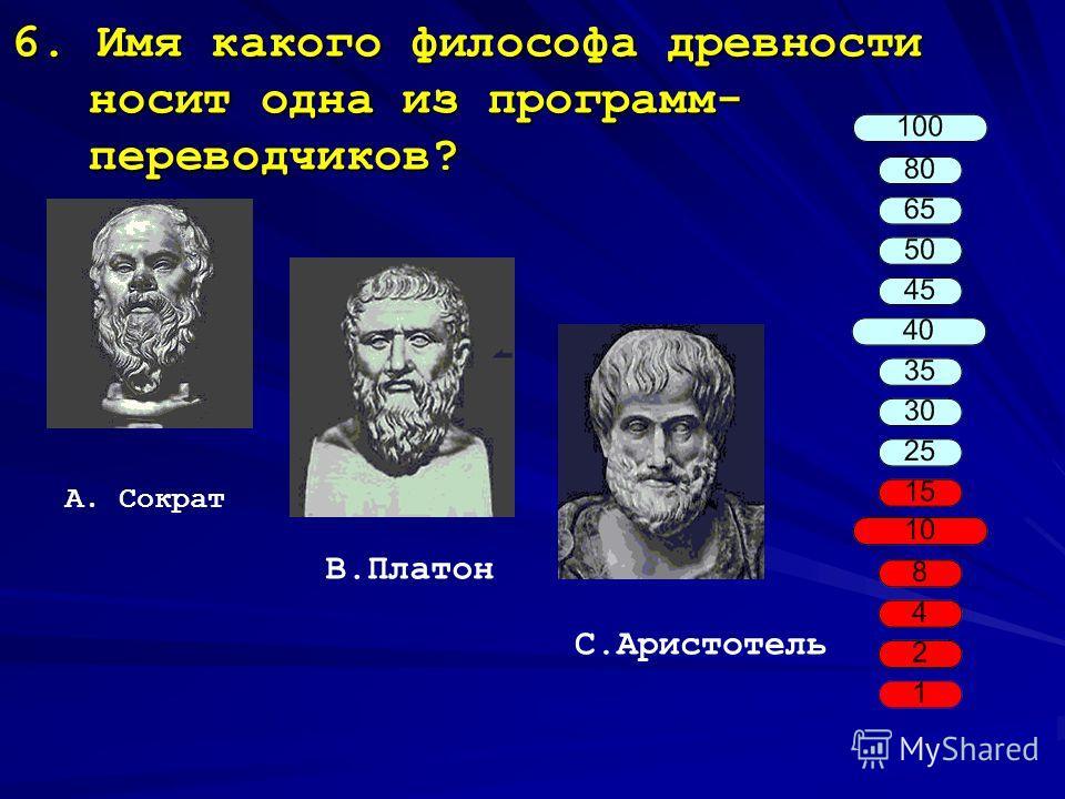 6. Имя какого философа древности носит одна из программ- переводчиков? A. Сократ B.Платон C.Аристотель
