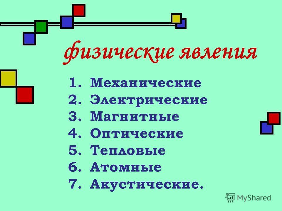 1.Механические 2.Электрические 3.Магнитные 4.Оптические 5.Тепловые 6.Атомные 7.Акустические. физические явления