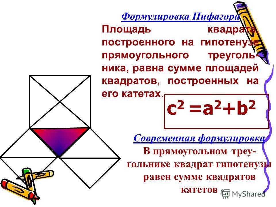 В чем же причина такой популярности Теоремы Пифагора Знатоки утверждают, что причин здесь три: б) красота, а) простота, в) значимость в практическом применении.