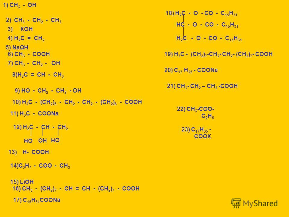 1) СН 3 - ОН 2) СН 3 - СН 2 - СН 3 3) КОН 4) Н 2 С = СН 2 5) NаОН 6) СН 3 - СООН 7) СН 3 - СН 2 - ОН 8)Н 2 С = СН - СН 3 9) НО - СН 2 - СН 2 - ОН 10) Н 3 С - (СН 2 ) 6 - СН 2 - СН 2 - (СН 2 ) 6 - СООН 11) Н 3 С - СООNа 12) Н 2 С - СН - СН 2 ОН 13) Н-