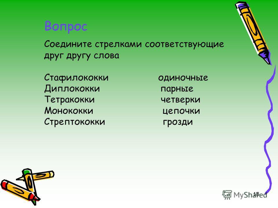 Соедините стрелками соответствующие друг другу слова Стафилококки одиночные Диплококки парные Тетракокки четверки Монококки цепочки Стрептококки грозди 15 Вопрос