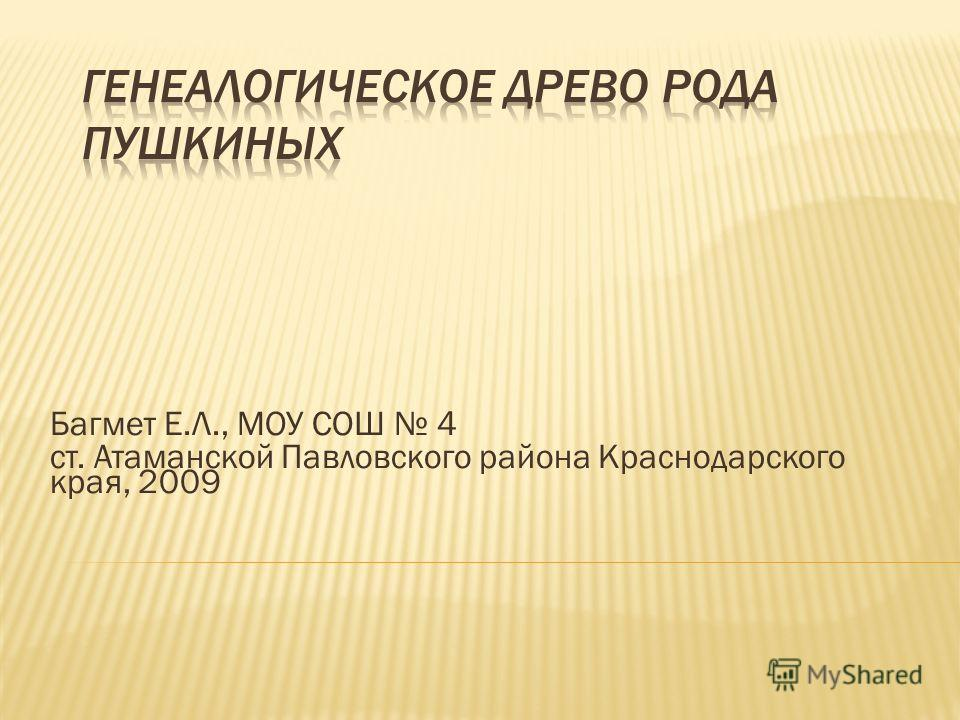Багмет Е.Л., МОУ СОШ 4 ст. Атаманской Павловского района Краснодарского края, 2009