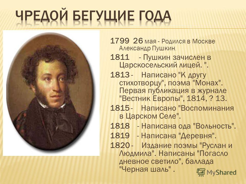 1799 26 мая - Родился в Москве Александр Пушкин. 1811 - Пушкин зачислен в Царскосельский лицей.