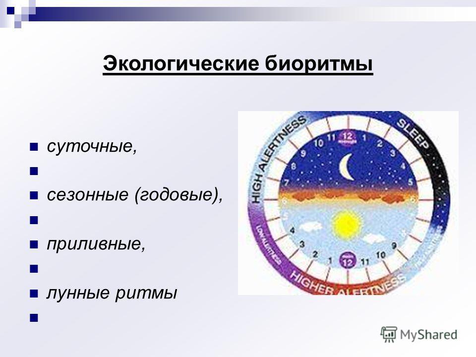 Экологические биоритмы суточные, сезонные (годовые), приливные, лунные ритмы