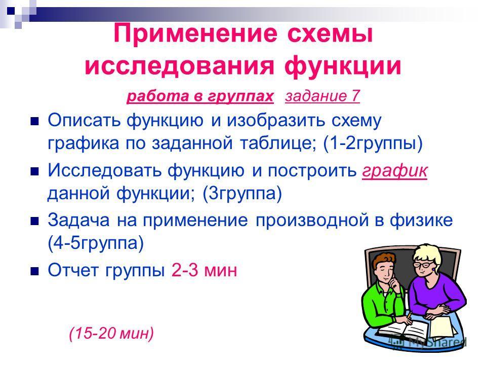 Применение схемы исследования функции работа в группах задание 7 Описать функцию и изобразить схему графика по заданной таблице; (1-2группы) Исследовать функцию и построить график данной функции; (3группа) Задача на применение производной в физике (4