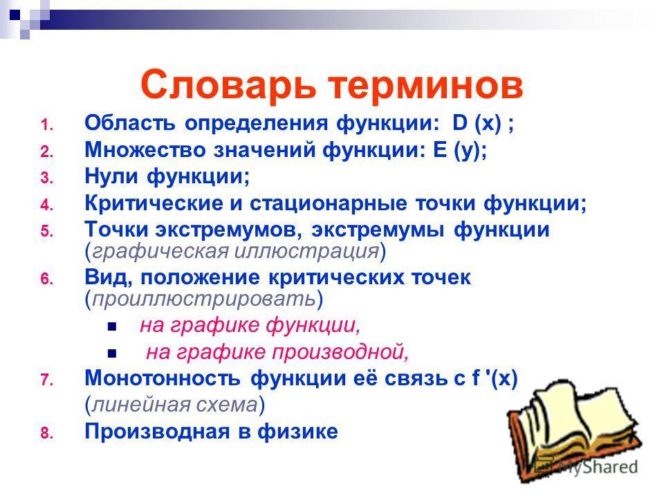 Словарь терминов 1. Область определения функции: D (x) ; 2. Множество значений функции: E (y); 3. Нули функции; 4. Критические и стационарные точки функции; 5. Точки экстремумов, экстремумы функции (графическая иллюстрация) 6. Вид, положение критичес