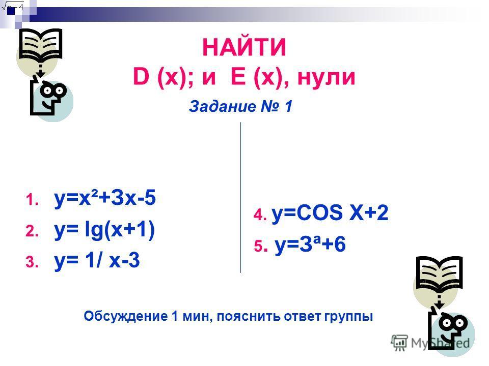 НАЙТИ D (x); и E (x), нули 1. y=x²+Зx-5 2. y= lg(x+1) 3. y= 1/ х-3 4. y=COS X+2 5. y=Зª+6 Задание 1 Обсуждение 1 мин, пояснить ответ группы