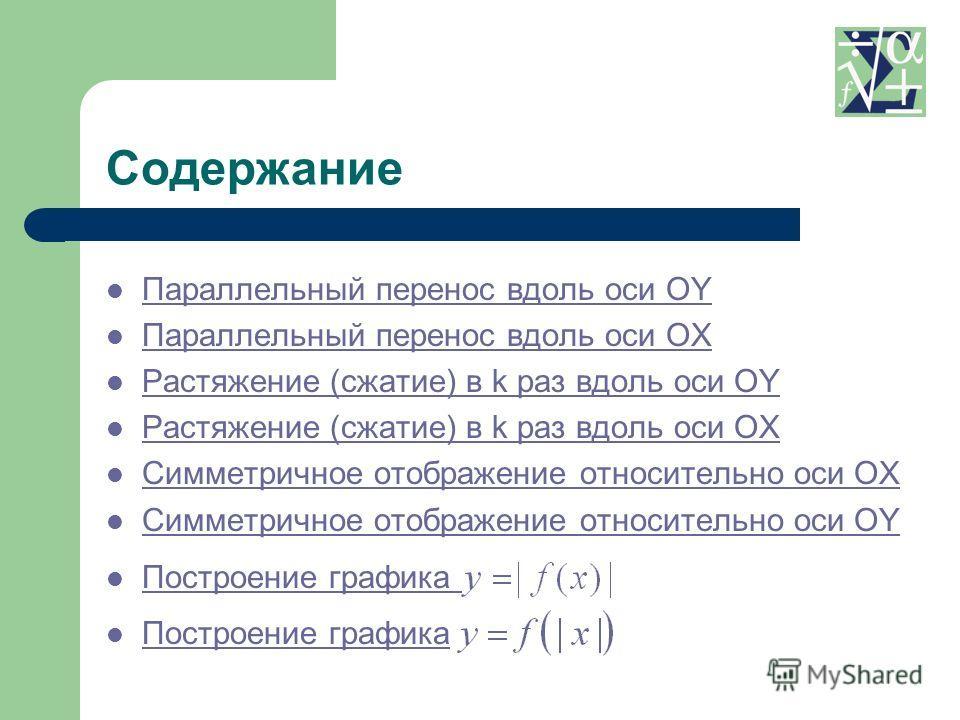 Параллельный перенос вдоль оси OY Параллельный перенос вдоль оси OY Параллельный перенос вдоль оси OX Параллельный перенос вдоль оси OX Растяжение (сжатие) в k раз вдоль оси OY Растяжение (сжатие) в k раз вдоль оси OY Растяжение (сжатие) в k раз вдол