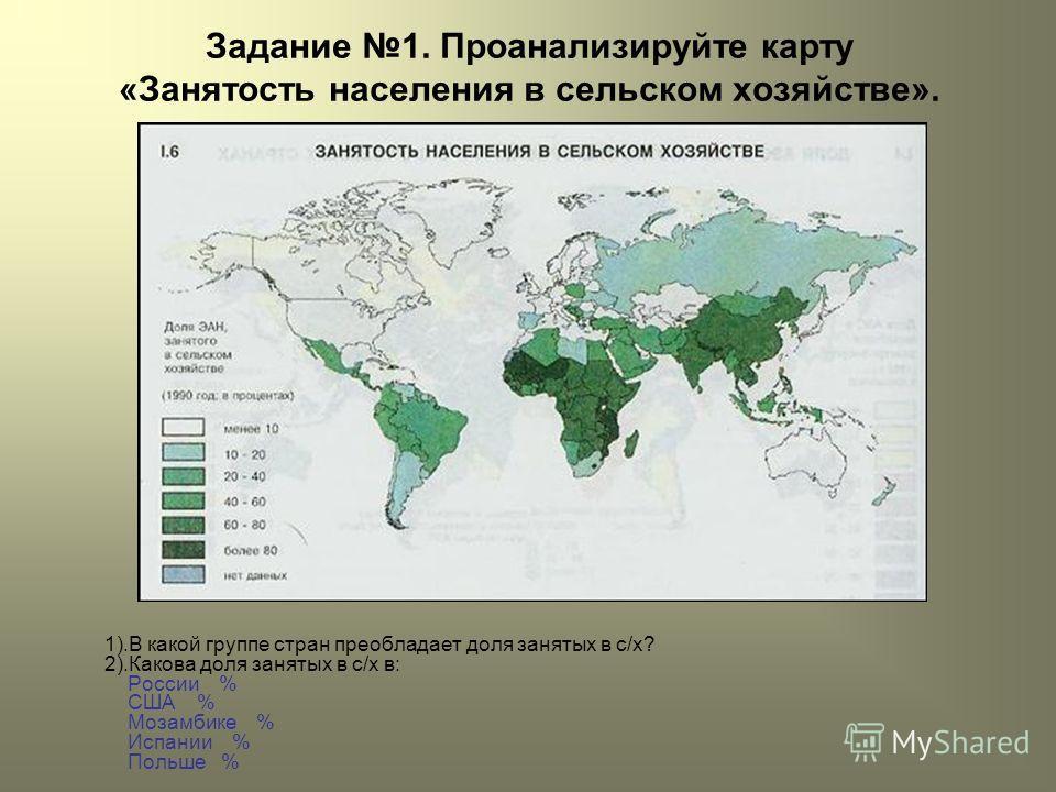 Задание 1. Проанализируйте карту «Занятость населения в сельском хозяйстве». 1).В какой группе стран преобладает доля занятых в с/х? 2).Какова доля занятых в с/х в: России % США % Мозамбике % Испании % Польше %