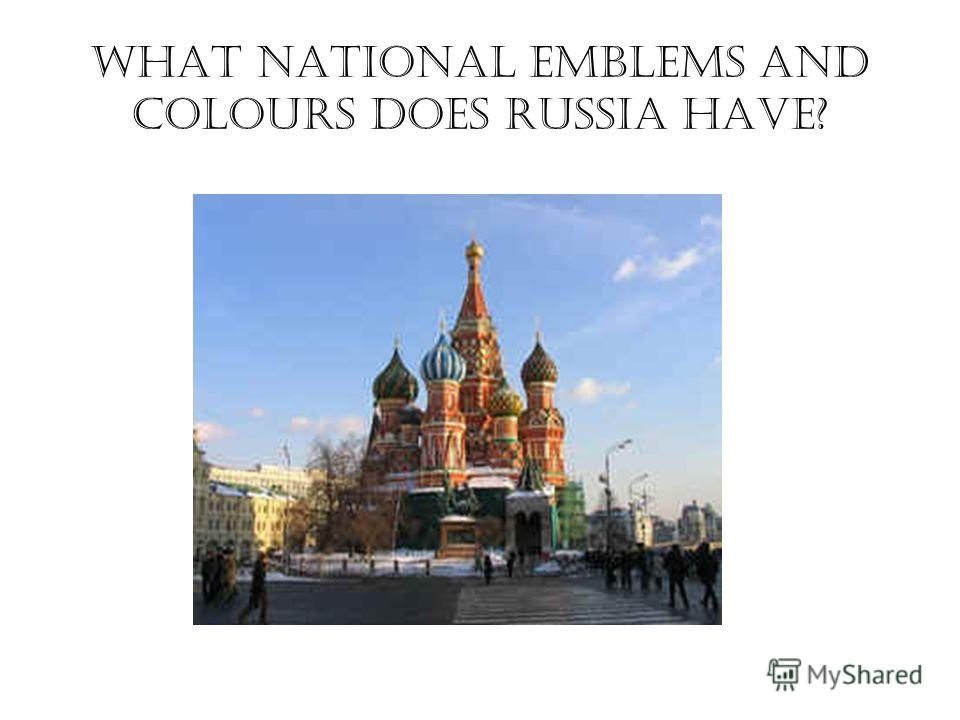 What national emblems and colours does Russia have?