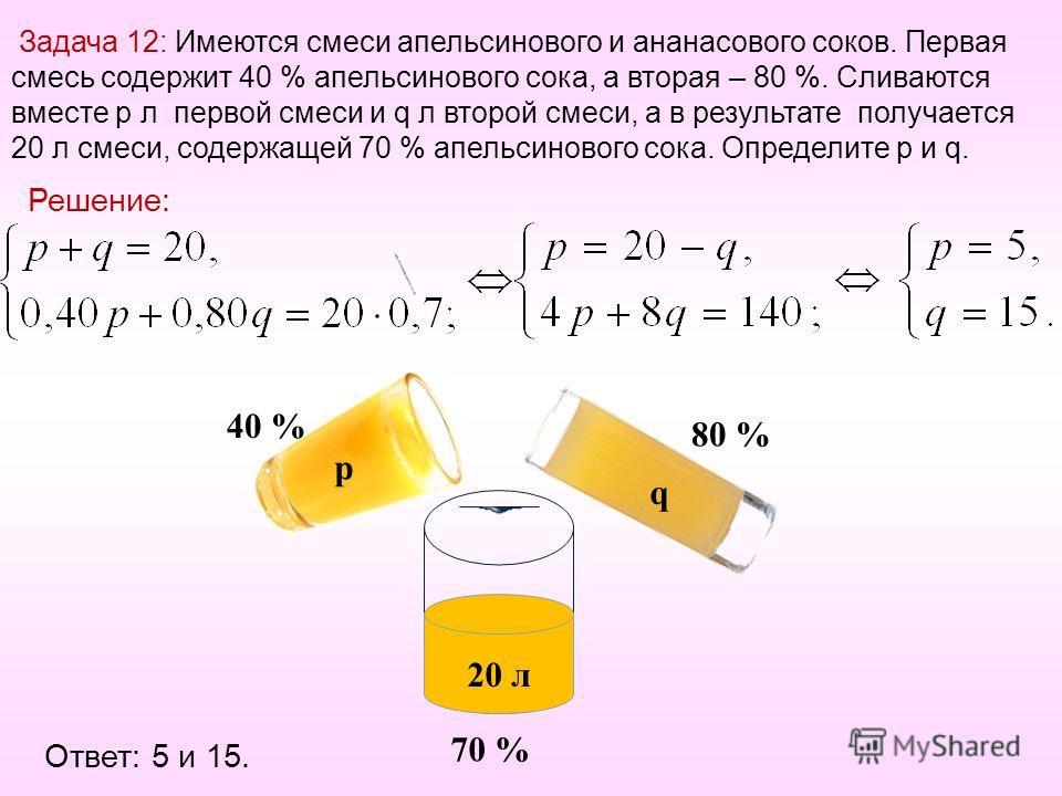 Задача 12: Имеются смеси апельсинового и ананасового соков. Первая смесь содержит 40 % апельсинового сока, а вторая – 80 %. Сливаются вместе p л первой смеси и q л второй смеси, а в результате получается 20 л смеси, содержащей 70 % апельсинового сока