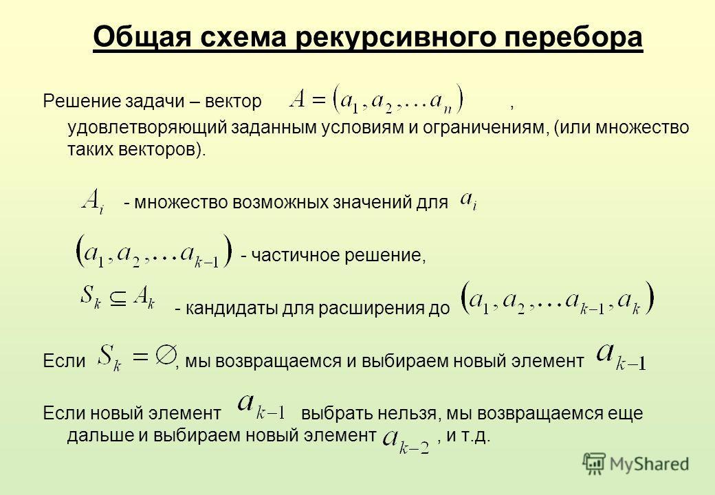 Общая схема рекурсивного перебора Решение задачи – вектор, удовлетворяющий заданным условиям и ограничениям, (или множество таких векторов). - множество возможных значений для - частичное решение, - кандидаты для расширения до Если, мы возвращаемся и