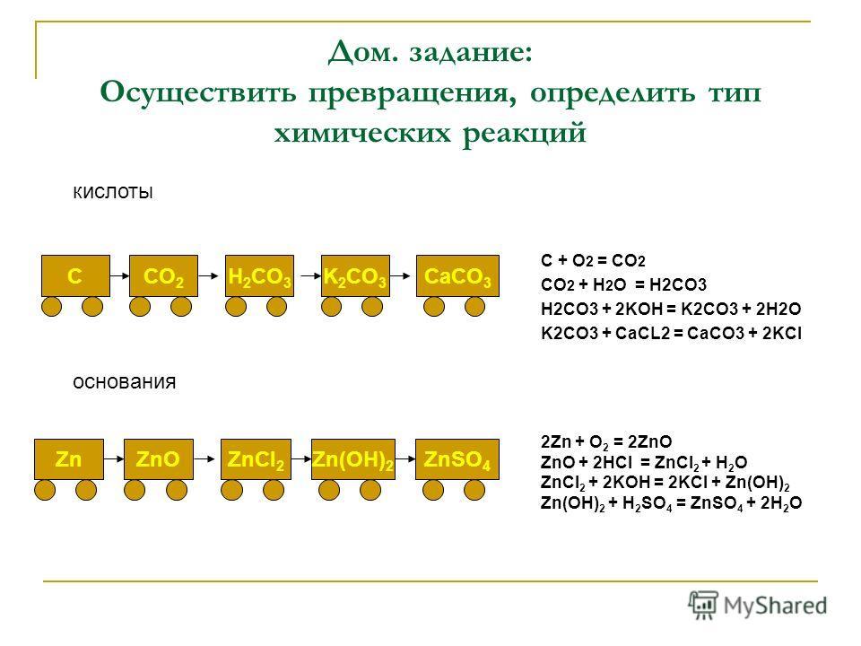 Дом. задание: Осуществить превращения, определить тип химических реакций C + O 2 = CO 2 CO 2 + H 2 O = H2CO3 H2CO3 + 2KOH = K2CO3 + 2H2O K2CO3 + CaCL2 = CaCO3 + 2KCl 2Zn + O 2 = 2ZnO ZnO + 2HCl = ZnCl 2 + H 2 O ZnCl 2 + 2KOH = 2KCl + Zn(OH) 2 Zn(OH)