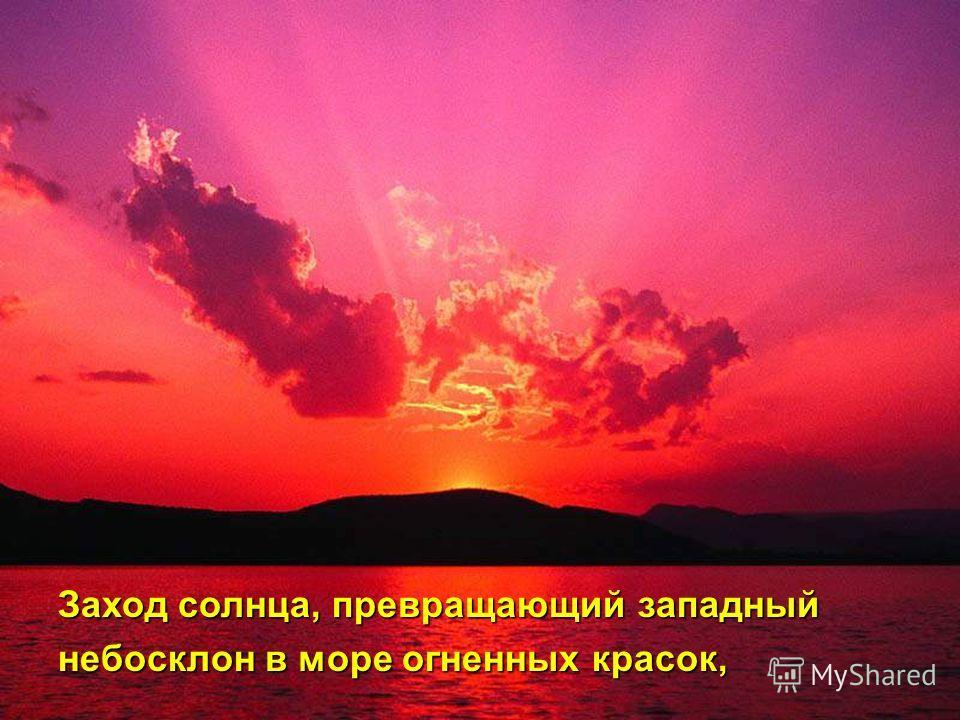 Заход солнца, превращающий западный небосклон в море огненных красок,