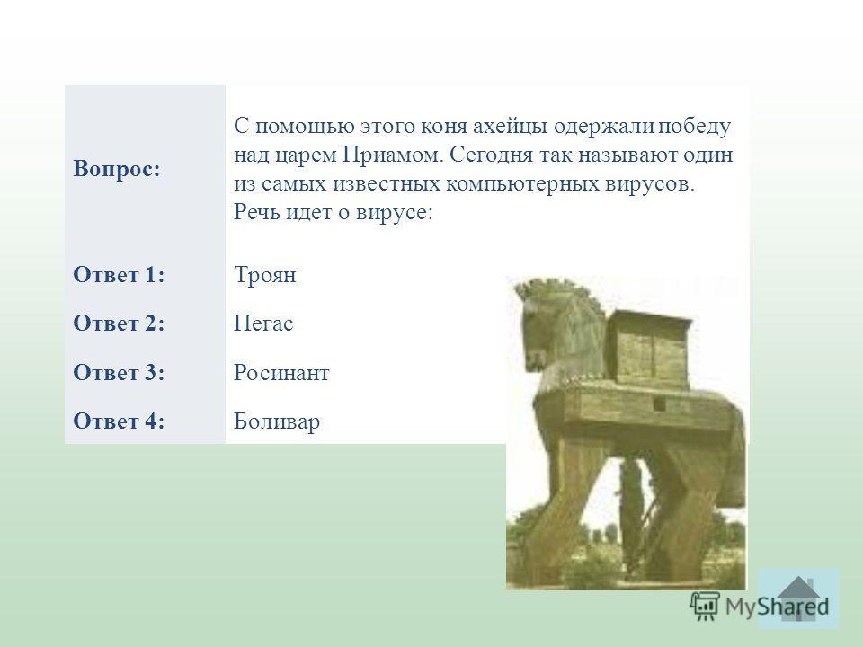 Вопрос: С помощью этого коня ахейцы одержали победу над царем Приамом. Сегодня так называют один из самых известных компьютерных вирусов. Речь идет о вирусе: Ответ 1:Троян Ответ 2:Пегас Ответ 3:Росинант Ответ 4:Боливар