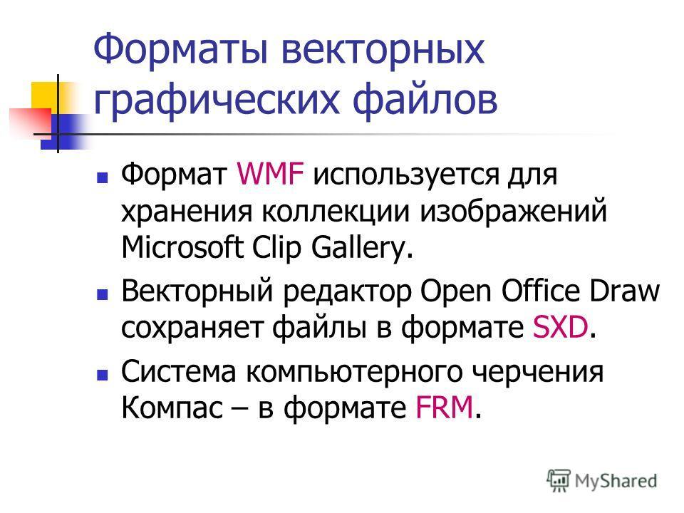 Форматы векторных графических файлов Формат WMF используется для хранения коллекции изображений Microsoft Clip Gallery. Векторный редактор Open Office Draw сохраняет файлы в формате SXD. Система компьютерного черчения Компас – в формате FRM.