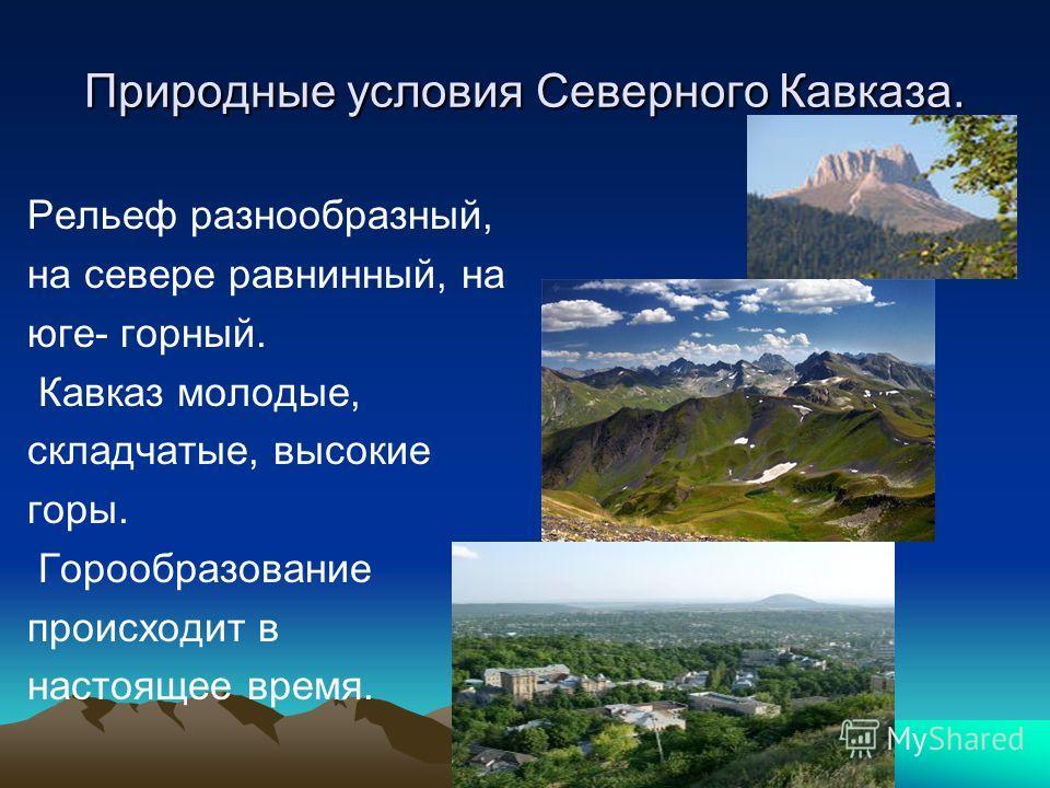 Природные условия Северного Кавказа. Рельеф разнообразный, на севере равнинный, на юге- горный. Кавказ молодые, складчатые, высокие горы. Горообразование происходит в настоящее время.